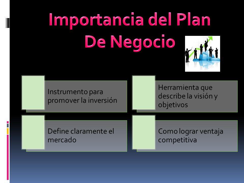 Instrumento para promover la inversión Herramienta que describe la visión y objetivos Define claramente el mercado Como lograr ventaja competitiva