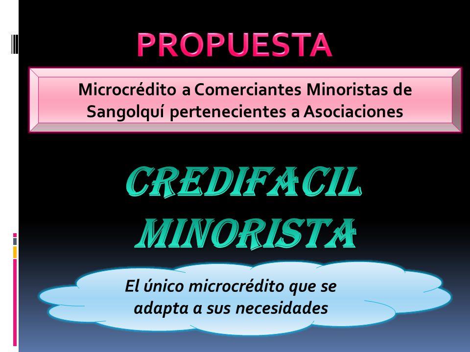 Microcrédito a Comerciantes Minoristas de Sangolquí pertenecientes a Asociaciones El único microcrédito que se adapta a sus necesidades