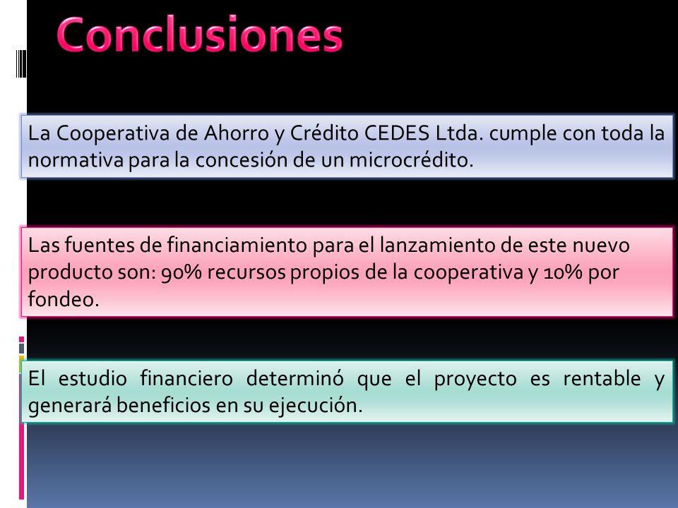La Cooperativa de Ahorro y Crédito CEDES Ltda. cumple con toda la normativa para la concesión de un microcrédito. Las fuentes de financiamiento para e