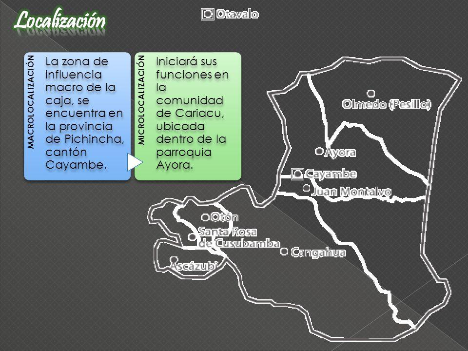 MACROLOCALIZACIÓN La zona de influencia macro de la caja, se encuentra en la provincia de Pichincha, cantón Cayambe. MICROLOCALIZACIÓN Iniciará sus fu