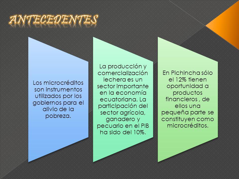 Los microcréditos son instrumentos utilizados por los gobiernos para el alivio de la pobreza. La producción y comercialización lechera es un sector im