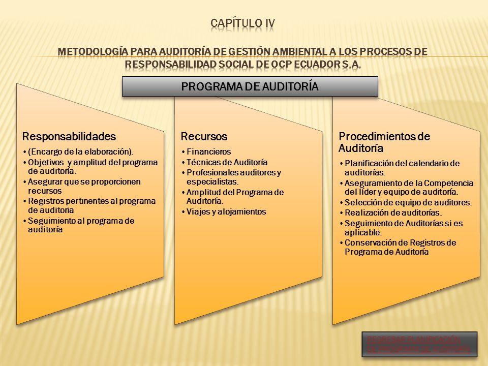Responsabilidades (Encargo de la elaboración). Objetivos y amplitud del programa de auditoría. Asegurar que se proporcionen recursos Registros pertine