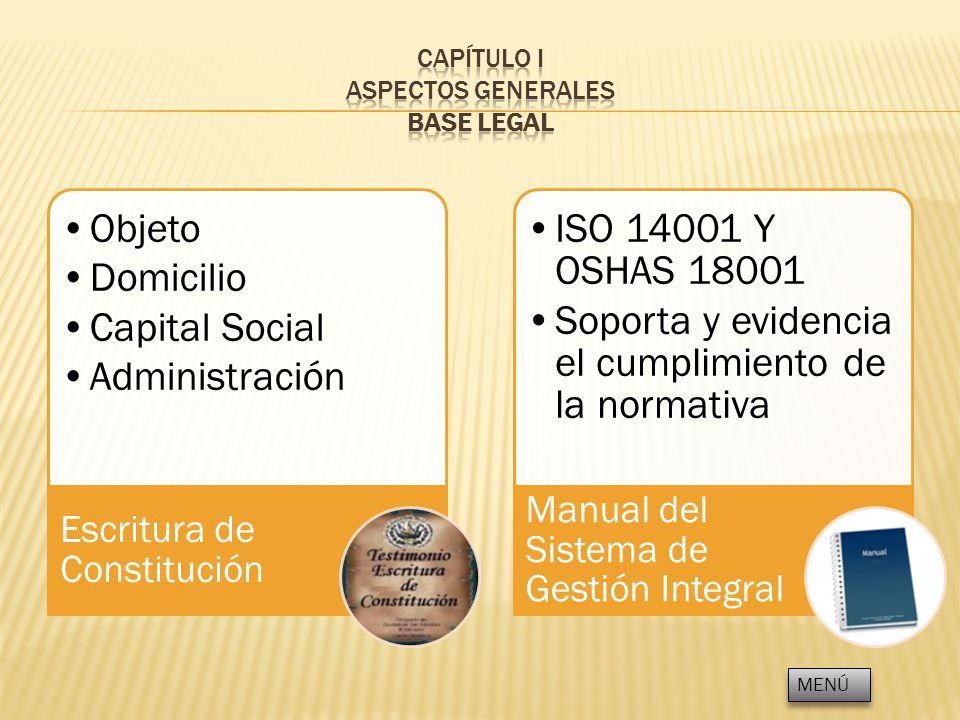 Objeto Domicilio Capital Social Administración Escritura de Constitución ISO 14001 Y OSHAS 18001 Soporta y evidencia el cumplimiento de la normativa M