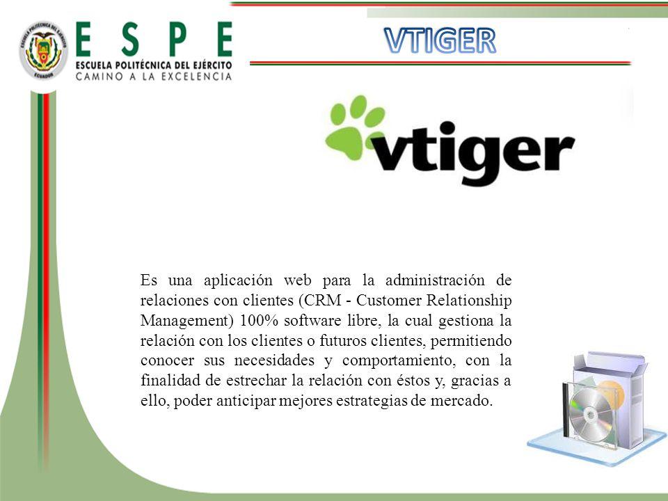 Es una aplicación web para la administración de relaciones con clientes (CRM - Customer Relationship Management) 100% software libre, la cual gestiona