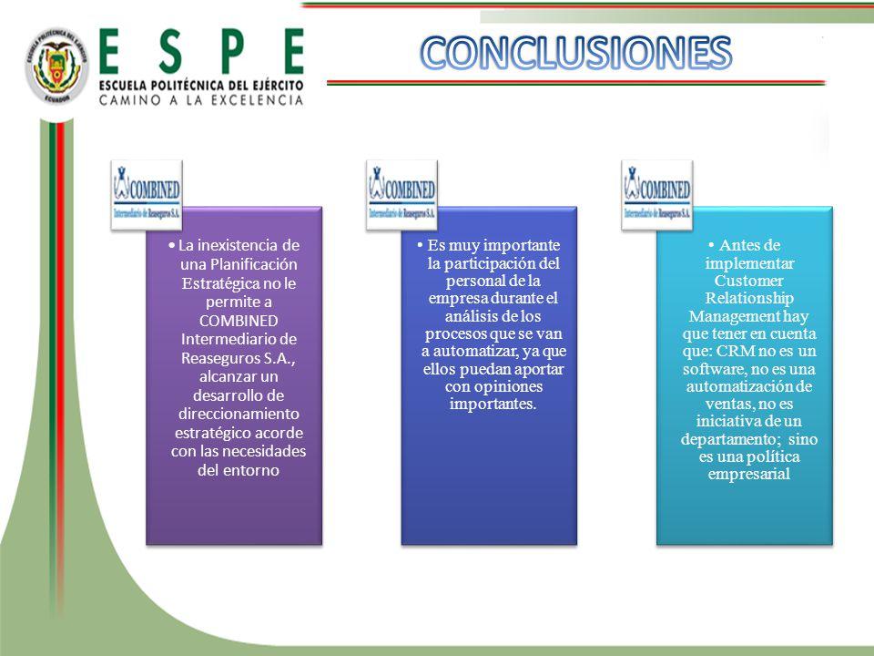La inexistencia de una Planificación Estratégica no le permite a COMBINED Intermediario de Reaseguros S.A., alcanzar un desarrollo de direccionamiento