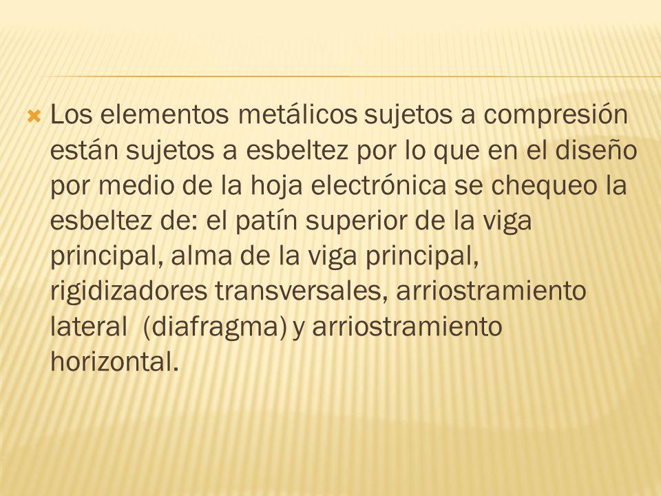 Los elementos metálicos sujetos a compresión están sujetos a esbeltez por lo que en el diseño por medio de la hoja electrónica se chequeo la esbeltez