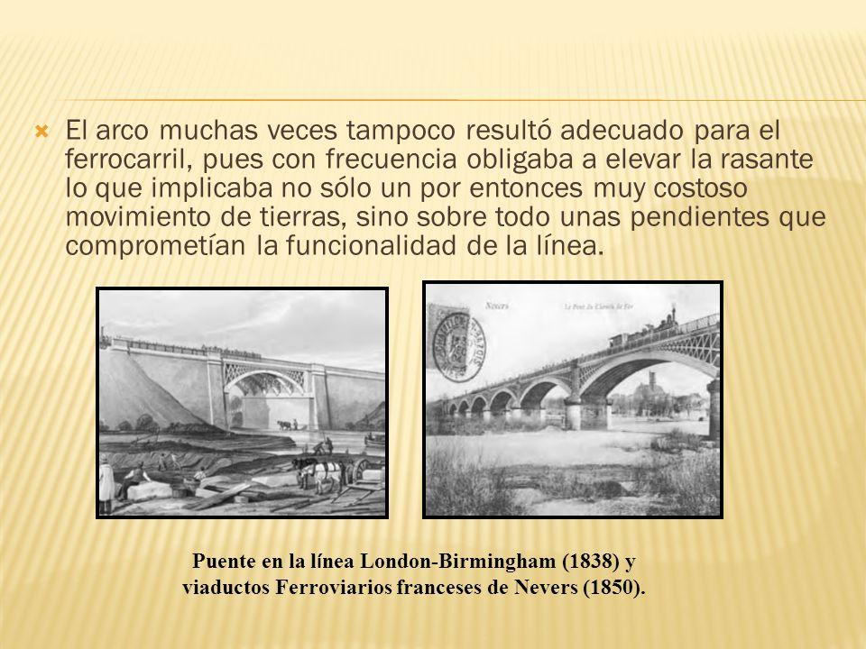El arco muchas veces tampoco resultó adecuado para el ferrocarril, pues con frecuencia obligaba a elevar la rasante lo que implicaba no sólo un por en