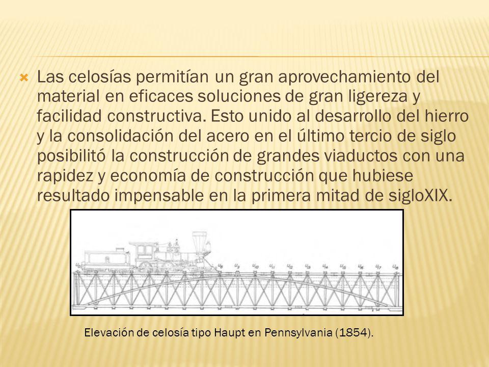 Las celosías permitían un gran aprovechamiento del material en eficaces soluciones de gran ligereza y facilidad constructiva. Esto unido al desarrollo