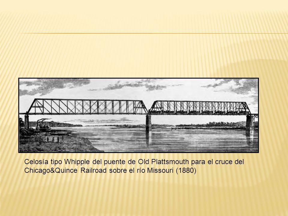 Celosía tipo Whipple del puente de Old Plattsmouth para el cruce del Chicago&Quince Railroad sobre el río Missouri (1880)
