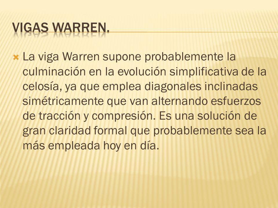 La viga Warren supone probablemente la culminación en la evolución simplificativa de la celosía, ya que emplea diagonales inclinadas simétricamente qu