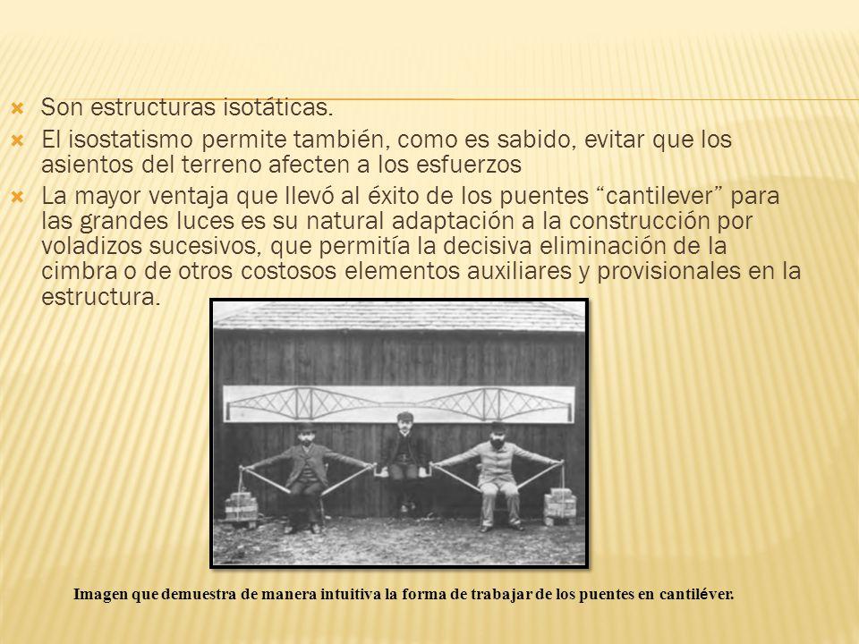 Son estructuras isotáticas. El isostatismo permite también, como es sabido, evitar que los asientos del terreno afecten a los esfuerzos La mayor venta