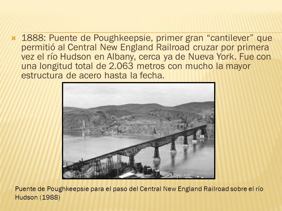 1888: Puente de Poughkeepsie, primer gran cantilever que permitió al Central New England Railroad cruzar por primera vez el río Hudson en Albany, cerc