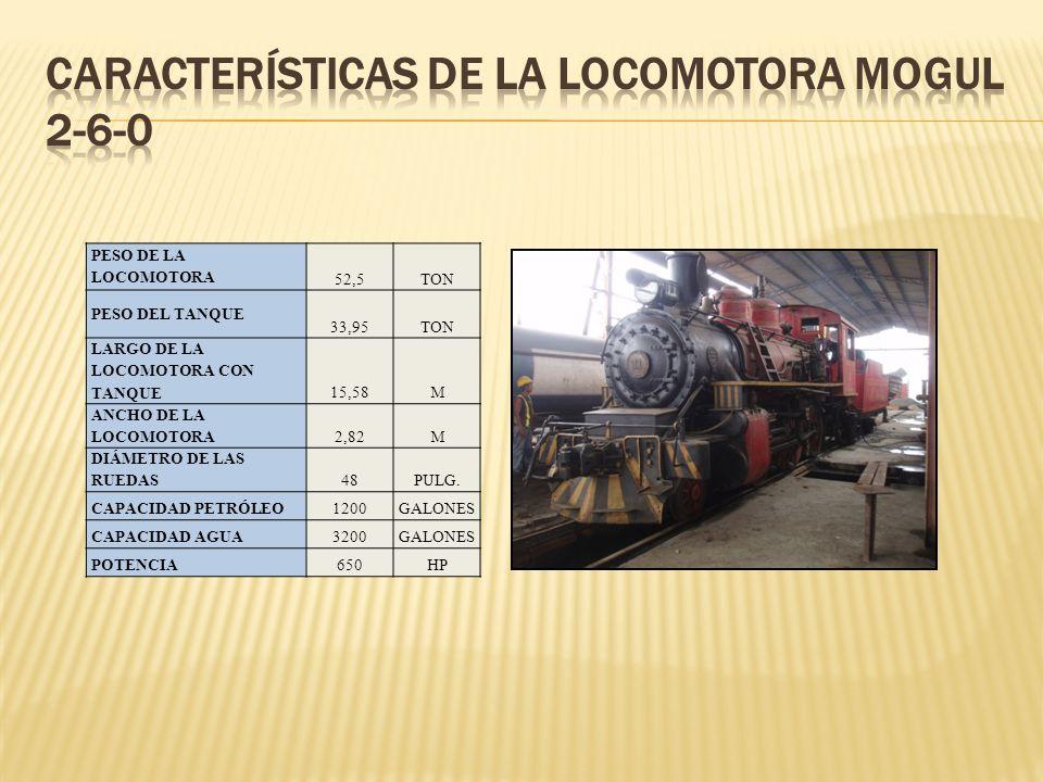 PESO DE LA LOCOMOTORA 52,5TON PESO DEL TANQUE 33,95TON LARGO DE LA LOCOMOTORA CON TANQUE 15,58M ANCHO DE LA LOCOMOTORA2,82M DIÁMETRO DE LAS RUEDAS48PU