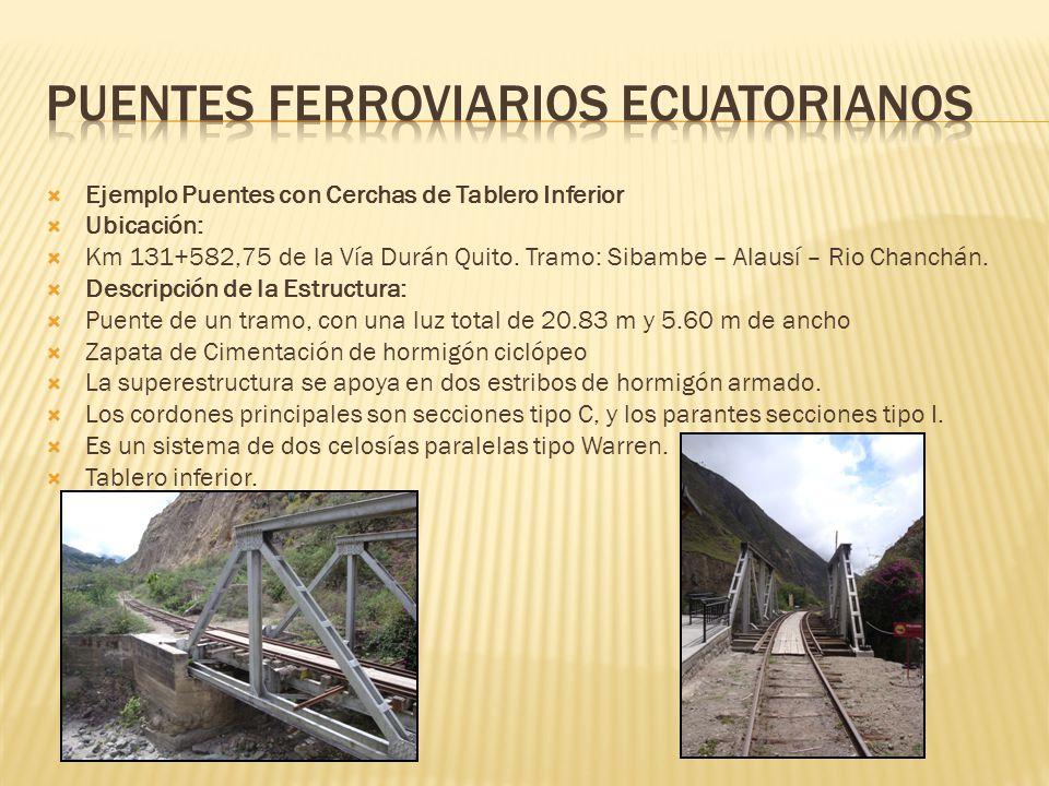 Ejemplo Puentes con Cerchas de Tablero Inferior Ubicación: Km 131+582,75 de la Vía Durán Quito. Tramo: Sibambe – Alausí – Rio Chanchán. Descripción de