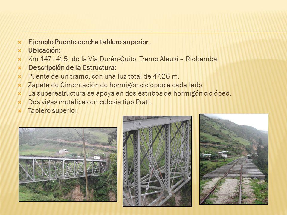 Ejemplo Puente cercha tablero superior. Ubicación: Km 147+415, de la Vía Durán-Quito. Tramo Alausí – Riobamba. Descripción de la Estructura: Puente de