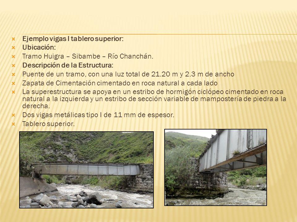 Ejemplo vigas I tablero superior: Ubicación: Tramo Huigra – Sibambe – Río Chanchán. Descripción de la Estructura: Puente de un tramo, con una luz tota