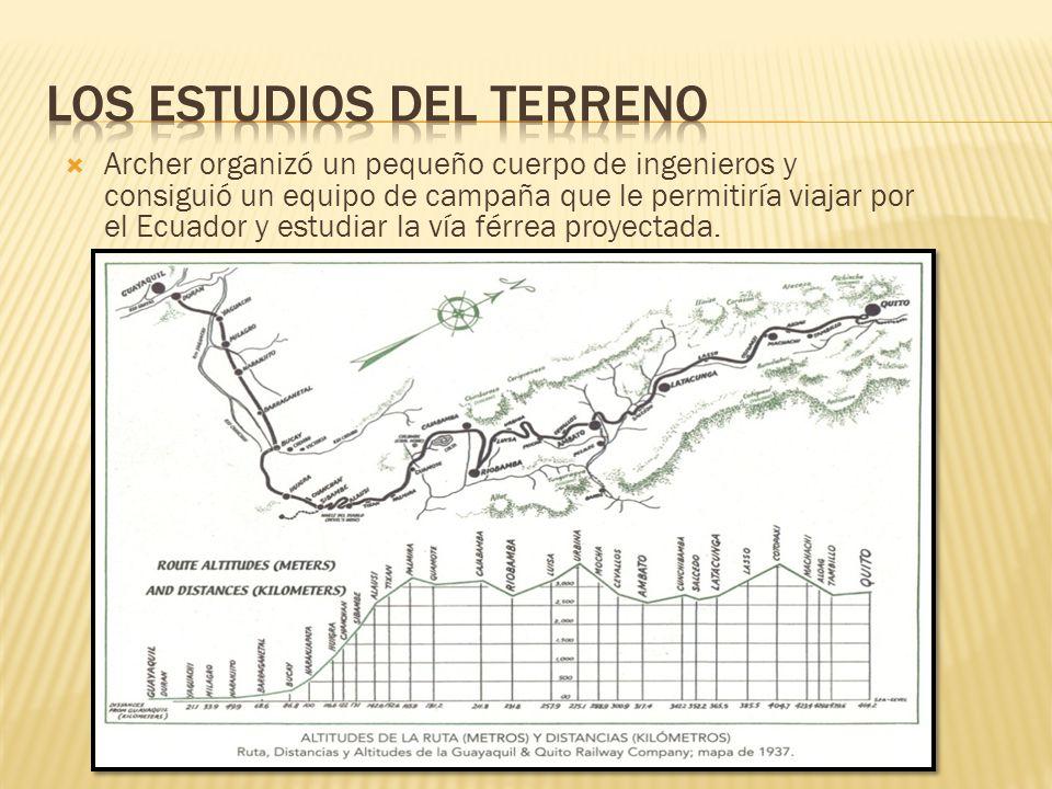 Archer organizó un pequeño cuerpo de ingenieros y consiguió un equipo de campaña que le permitiría viajar por el Ecuador y estudiar la vía férrea proy