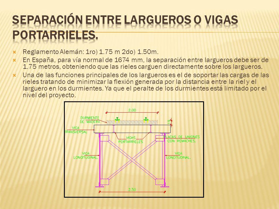 Reglamento Alemán: 1ro) 1.75 m 2do) 1.50m. En España, para vía normal de 1674 mm, la separación entre largueros debe ser de 1.75 metros, obteniendo qu