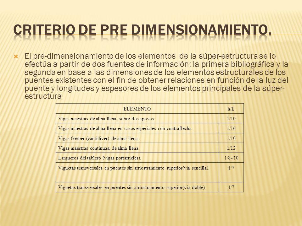 El pre-dimensionamiento de los elementos de la súper-estructura se lo efectúa a partir de dos fuentes de información; la primera bibliográfica y la se