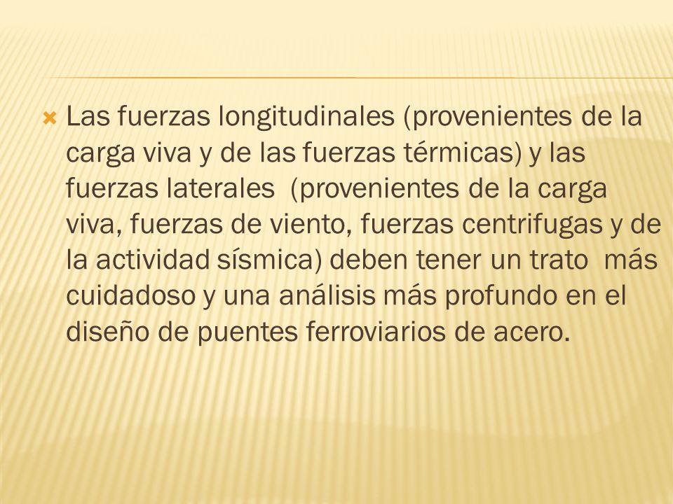 Las fuerzas longitudinales (provenientes de la carga viva y de las fuerzas térmicas) y las fuerzas laterales (provenientes de la carga viva, fuerzas d