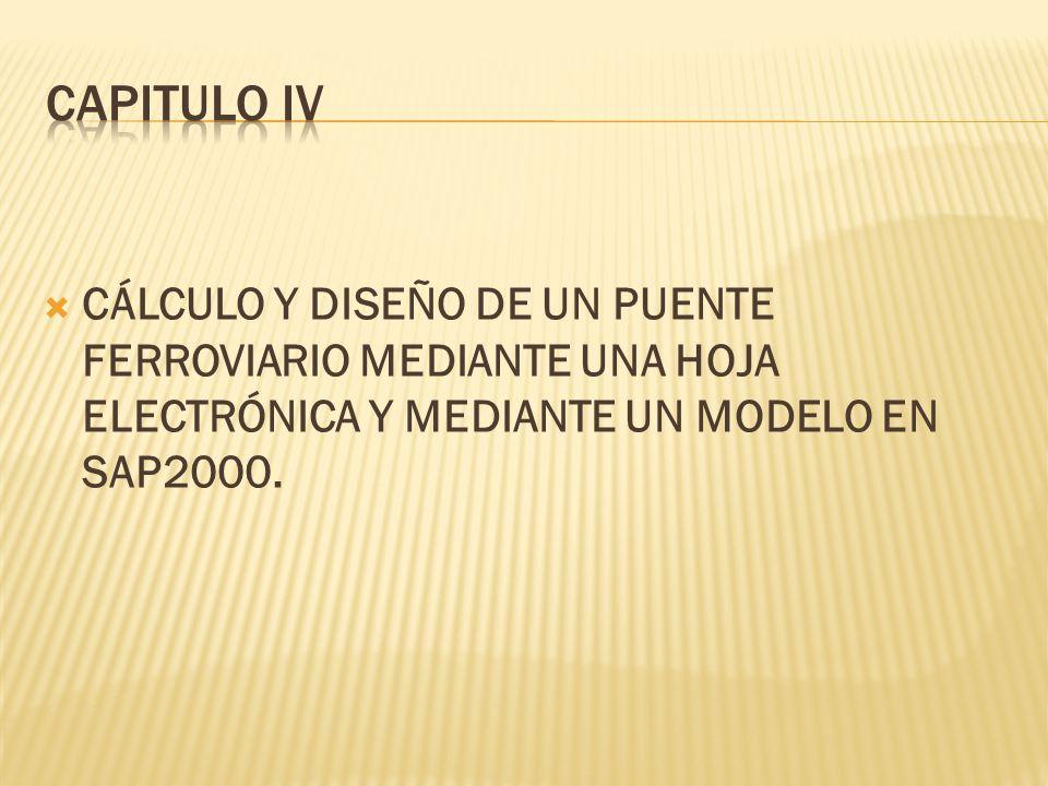 CÁLCULO Y DISEÑO DE UN PUENTE FERROVIARIO MEDIANTE UNA HOJA ELECTRÓNICA Y MEDIANTE UN MODELO EN SAP2000.