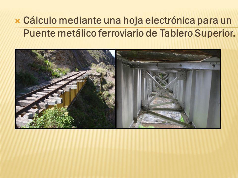 Cálculo mediante una hoja electrónica para un Puente metálico ferroviario de Tablero Superior.