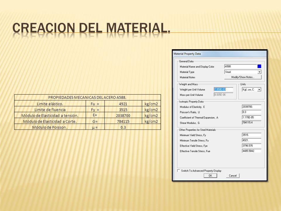 PROPIEDADES MECANICAS DEL ACERO A588. Limite elástico.Fu =4921kg/cm2 Limite de fluenciaFy =3515kg/cm2 Módulo de Elasticidad a tensión. E= 2038700kg/cm