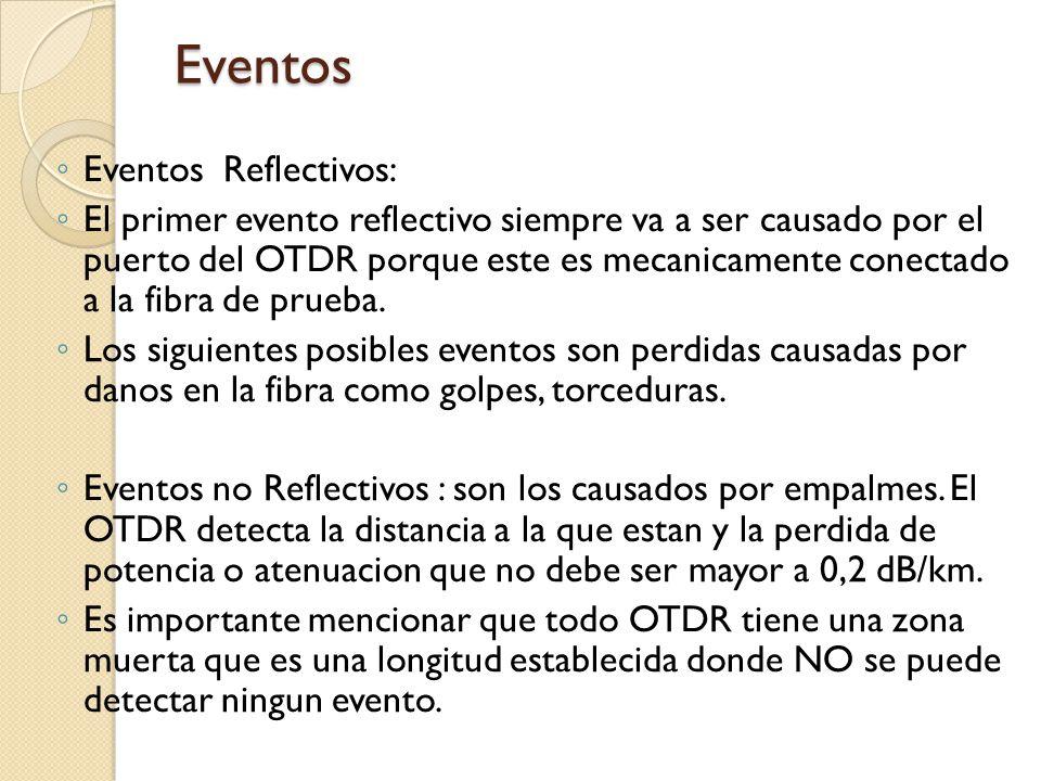 Eventos Reflectivos: El primer evento reflectivo siempre va a ser causado por el puerto del OTDR porque este es mecanicamente conectado a la fibra de