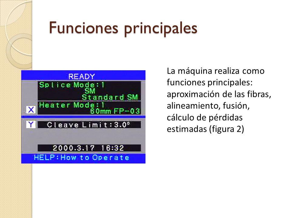 Funciones principales La máquina realiza como funciones principales: aproximación de las fibras, alineamiento, fusión, cálculo de pérdidas estimadas (