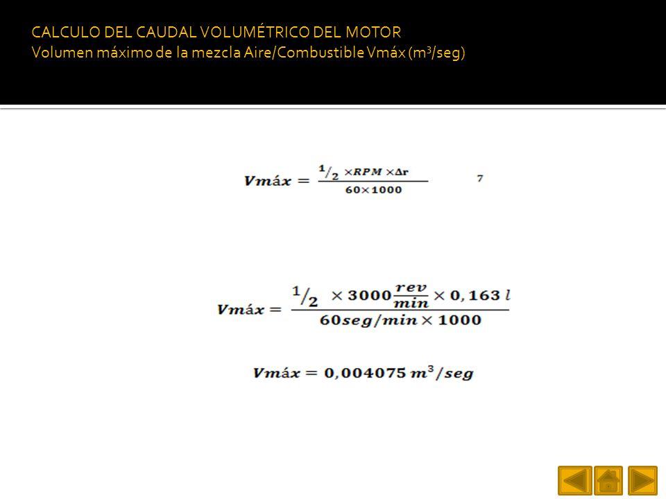 CALCULO DEL CAUDAL VOLUMÉTRICO DEL MOTOR Volumen máximo de la mezcla Aire/Combustible Vmáx (m³/seg)