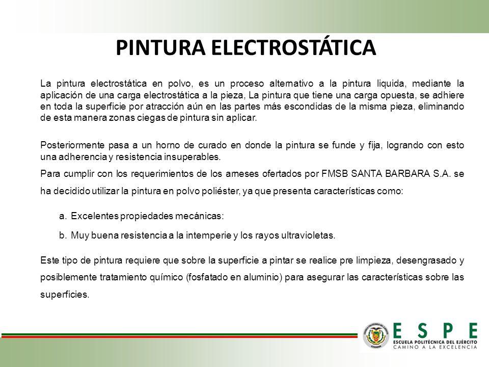 PINTURA ELECTROSTÁTICA La pintura electrostática en polvo, es un proceso alternativo a la pintura liquida, mediante la aplicación de una carga electro