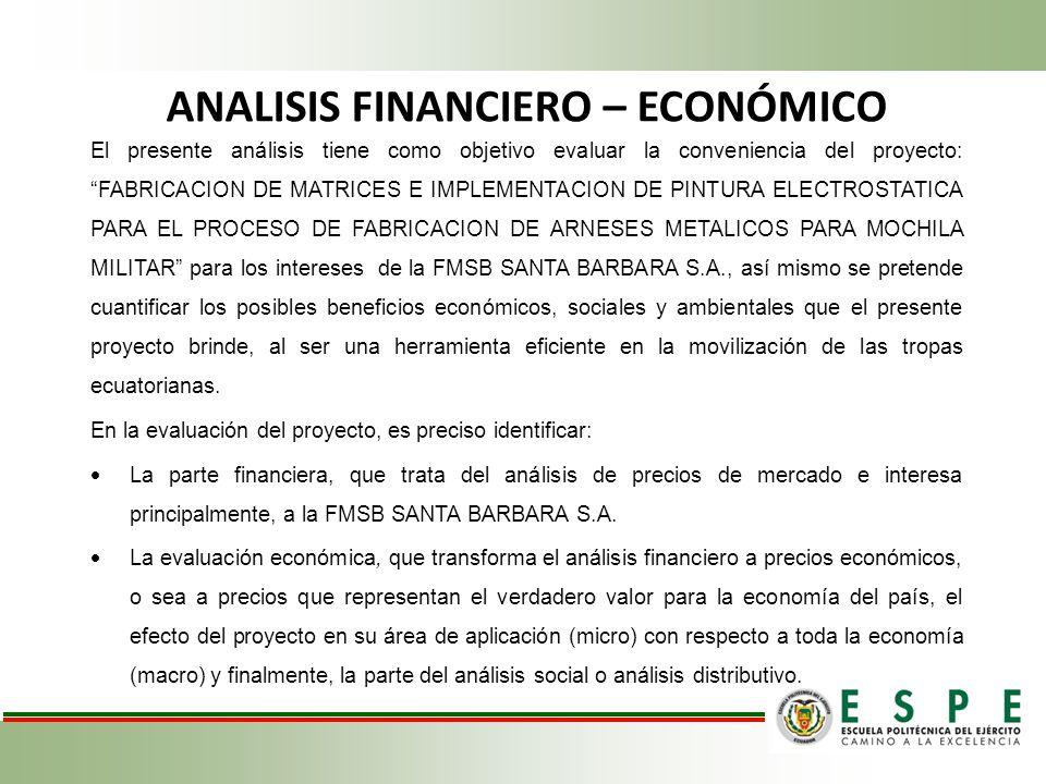 ANALISIS FINANCIERO – ECONÓMICO El presente análisis tiene como objetivo evaluar la conveniencia del proyecto: FABRICACION DE MATRICES E IMPLEMENTACIO