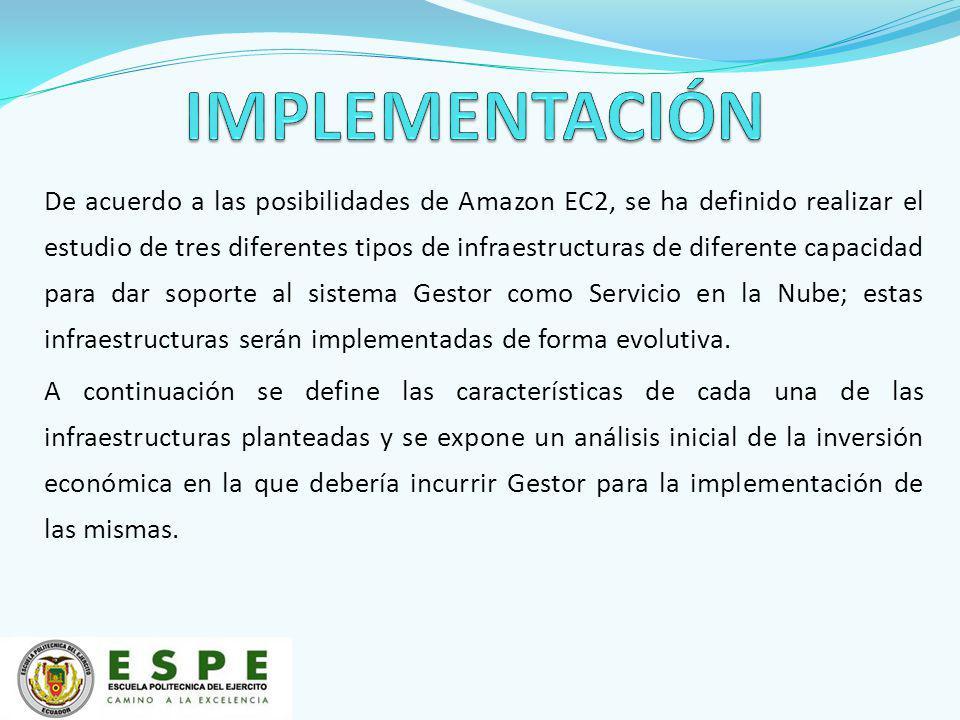 De acuerdo a las posibilidades de Amazon EC2, se ha definido realizar el estudio de tres diferentes tipos de infraestructuras de diferente capacidad para dar soporte al sistema Gestor como Servicio en la Nube; estas infraestructuras serán implementadas de forma evolutiva.