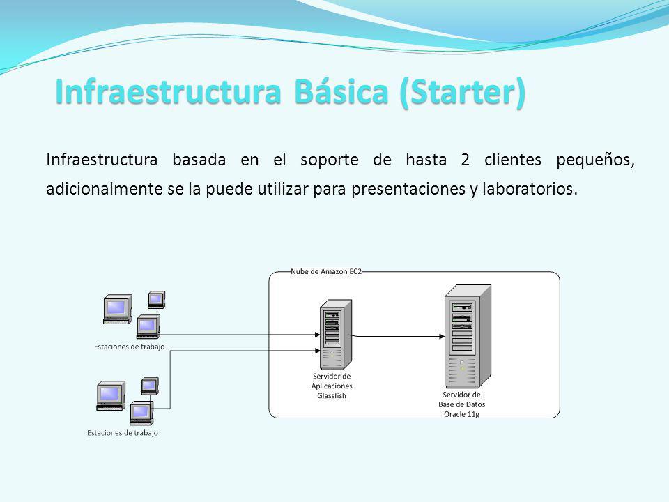 Infraestructura basada en el soporte de hasta 2 clientes pequeños, adicionalmente se la puede utilizar para presentaciones y laboratorios. Infraestruc