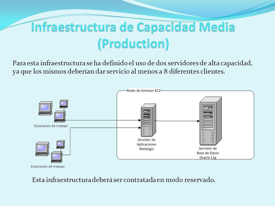 Infraestructura de Capacidad Media (Production) Para esta infraestructura se ha definido el uso de dos servidores de alta capacidad, ya que los mismos deberían dar servicio al menos a 8 diferentes clientes.