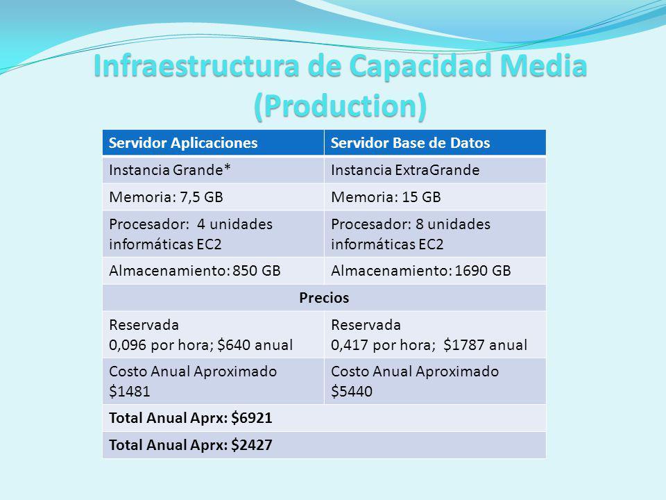 Infraestructura de Capacidad Media (Production) Servidor AplicacionesServidor Base de Datos Instancia Grande*Instancia ExtraGrande Memoria: 7,5 GBMemo