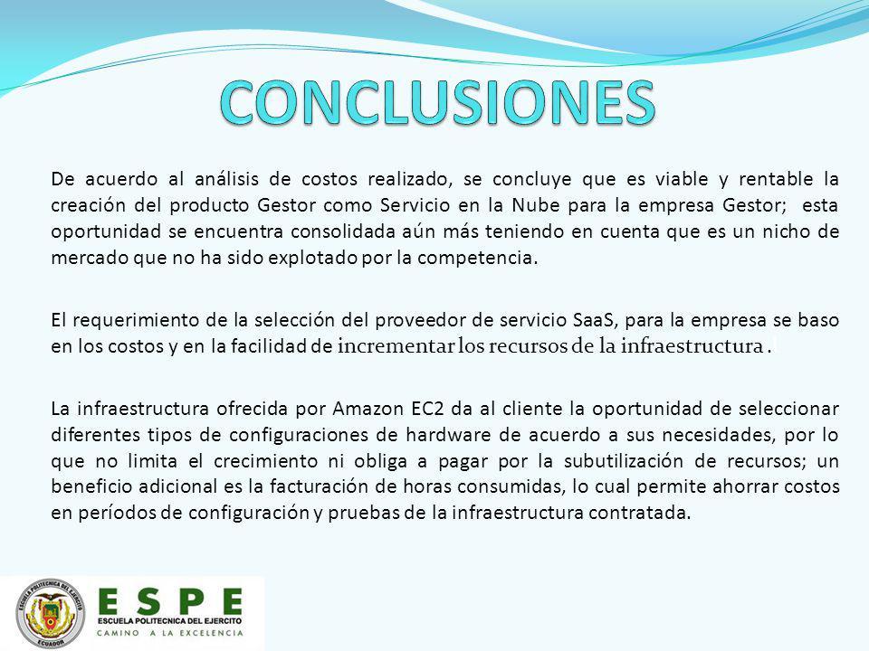 De acuerdo al análisis de costos realizado, se concluye que es viable y rentable la creación del producto Gestor como Servicio en la Nube para la empr