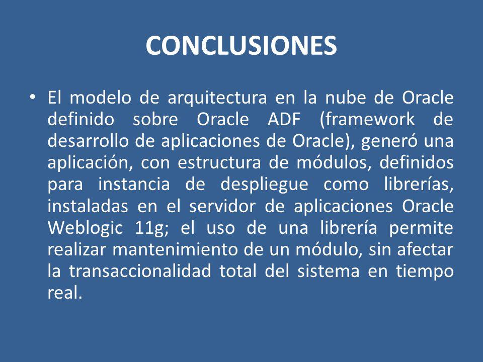 CONCLUSIONES El modelo de arquitectura en la nube de Oracle definido sobre Oracle ADF (framework de desarrollo de aplicaciones de Oracle), generó una