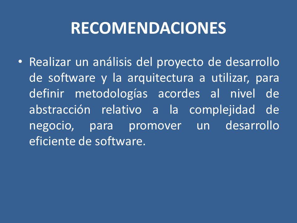RECOMENDACIONES Realizar un análisis del proyecto de desarrollo de software y la arquitectura a utilizar, para definir metodologías acordes al nivel d