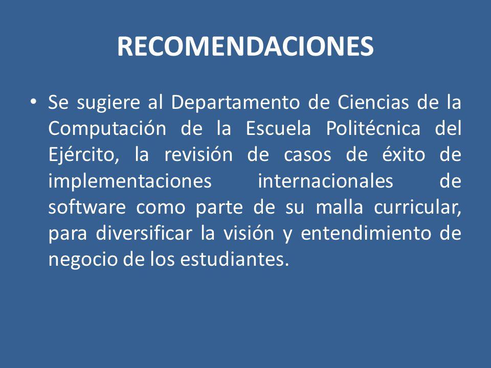 RECOMENDACIONES Se sugiere al Departamento de Ciencias de la Computación de la Escuela Politécnica del Ejército, la revisión de casos de éxito de impl