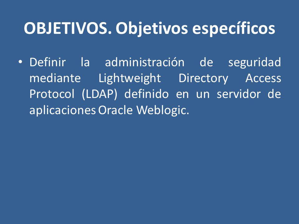 OBJETIVOS. Objetivos específicos Definir la administración de seguridad mediante Lightweight Directory Access Protocol (LDAP) definido en un servidor