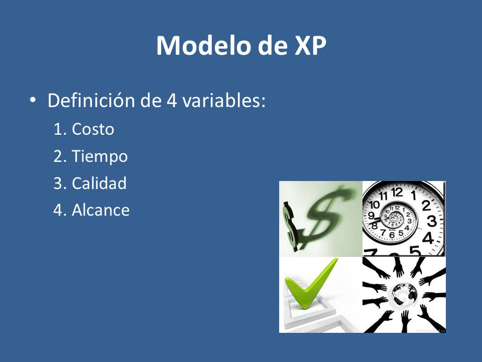 Modelo de XP Definición de 4 variables: 1. Costo 2. Tiempo 3. Calidad 4. Alcance
