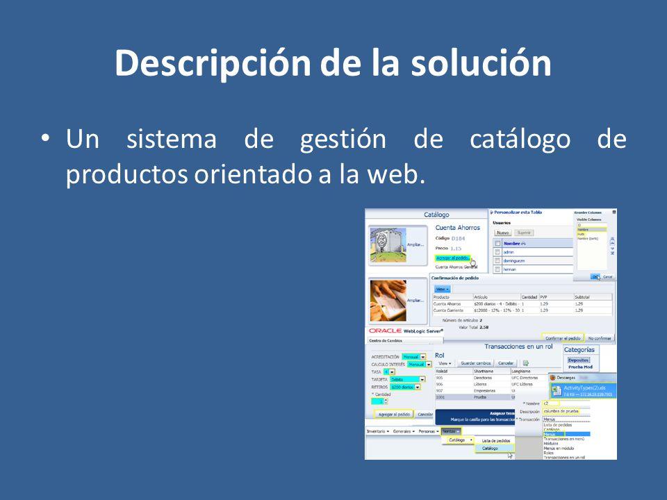 Descripción de la solución Un sistema de gestión de catálogo de productos orientado a la web.