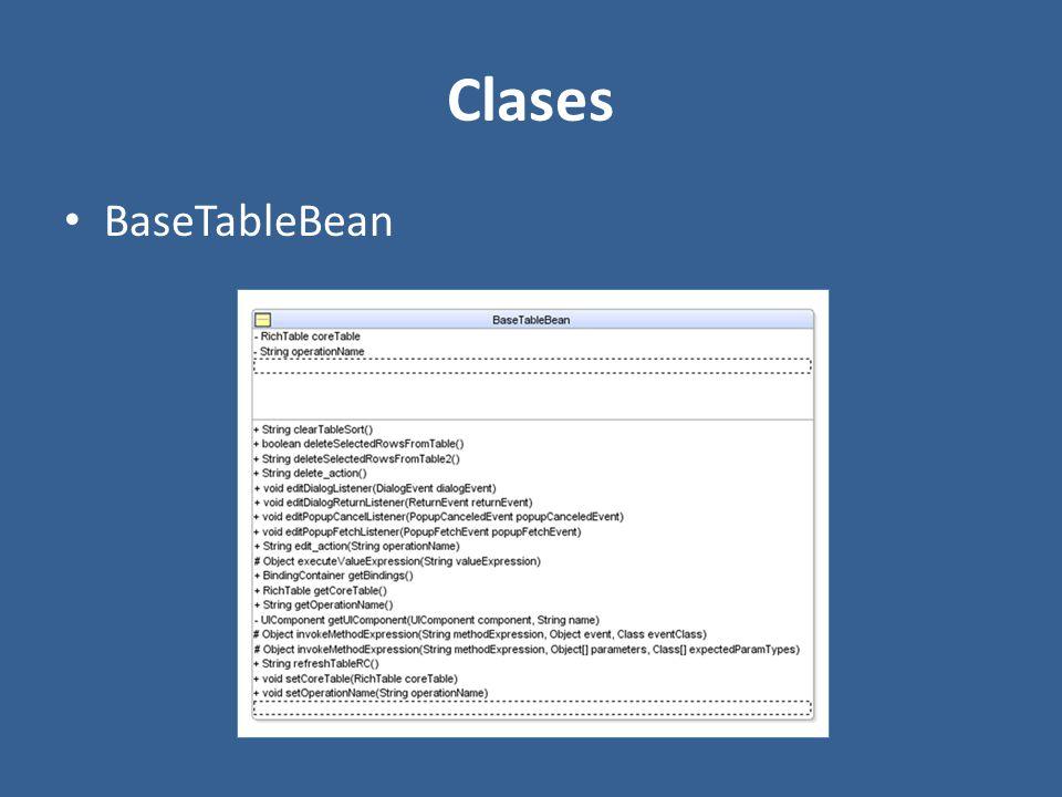 Clases BaseTableBean