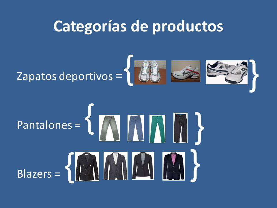 Categorías de productos Zapatos deportivos = { Pantalones = { Blazers = {