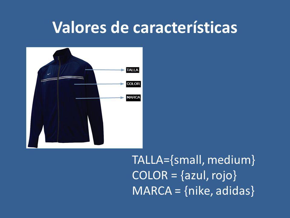 Valores de características TALLA={small, medium} COLOR = {azul, rojo} MARCA = {nike, adidas}