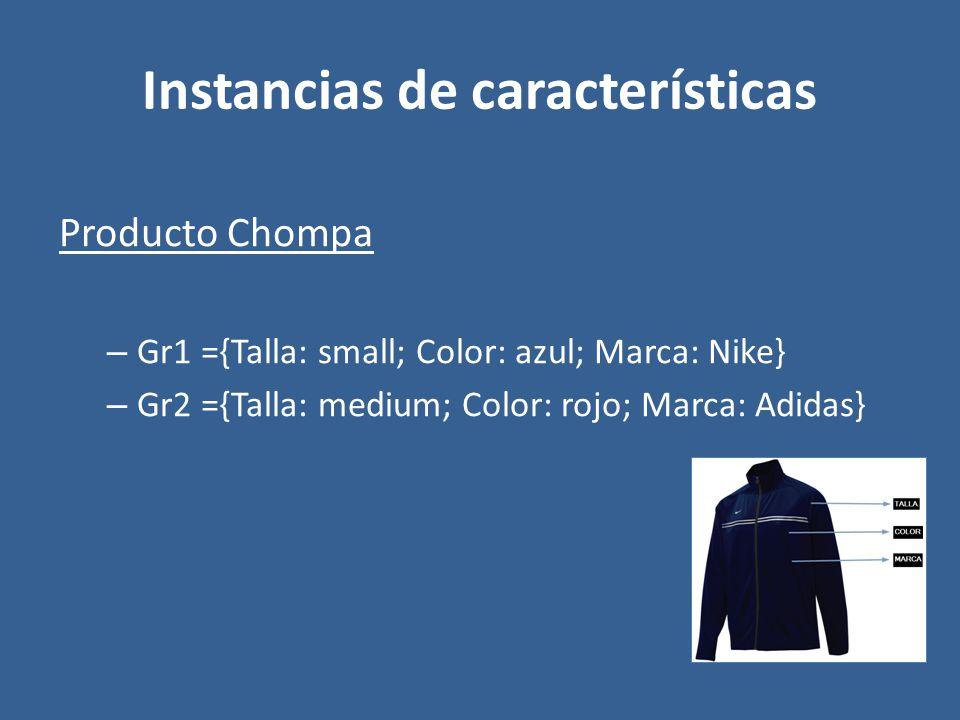 Instancias de características Producto Chompa – Gr1 ={Talla: small; Color: azul; Marca: Nike} – Gr2 ={Talla: medium; Color: rojo; Marca: Adidas}