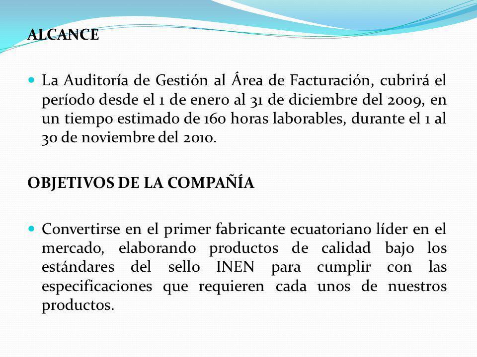 ALCANCE La Auditoría de Gestión al Área de Facturación, cubrirá el período desde el 1 de enero al 31 de diciembre del 2009, en un tiempo estimado de 160 horas laborables, durante el 1 al 30 de noviembre del 2010.
