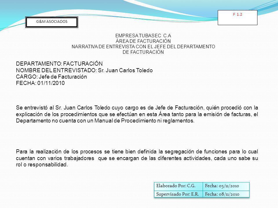 G&M ASOCIADOS EMPRESA TUBASEC C.A ÁREA DE FACTURACIÓN NARRATIVA DE ENTREVISTA CON EL JEFE DEL DEPARTAMENTO DE FACTURACIÓN DEPARTAMENTO: FACTURACIÓN NOMBRE DEL ENTREVISTADO: Sr.