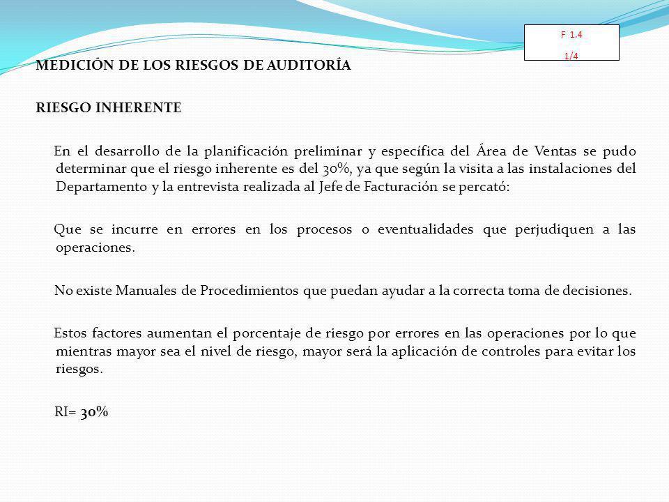 MEDICIÓN DE LOS RIESGOS DE AUDITORÍA RIESGO INHERENTE En el desarrollo de la planificación preliminar y específica del Área de Ventas se pudo determin
